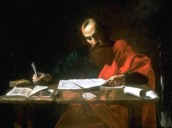 Valentin de Boulogne / Paweł piszący swoje listy / domena publiczna
