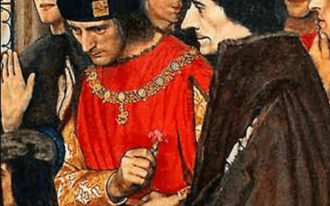 Erazm i Sir Tomasz More odwiedzają dzieci Henryka VII w Greenwich w 1499 (1910 r.) / Frank Cadogan Cowper / explore-parliament.net