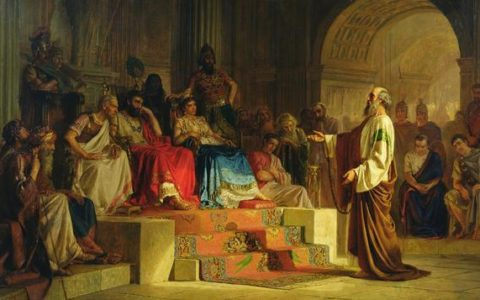 Czy Paweł wierzył w Trójcę / Paweł przed Agryppą (Dzieje Apostolskie 26), obraz: Mikołaja Bodarewski [1875 r.]
