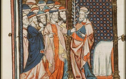 Mojżesz pokazujący ludowi kwitnącą laskę Aarona (Księga Liczb 17) / National Library of the Netherlands / domena publiczna