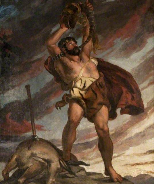 """David Scott (malarz) i obraz """"Nimrod"""" / wolna domena / artykuł: Nimrod a król Babilonu - podobieństwa"""