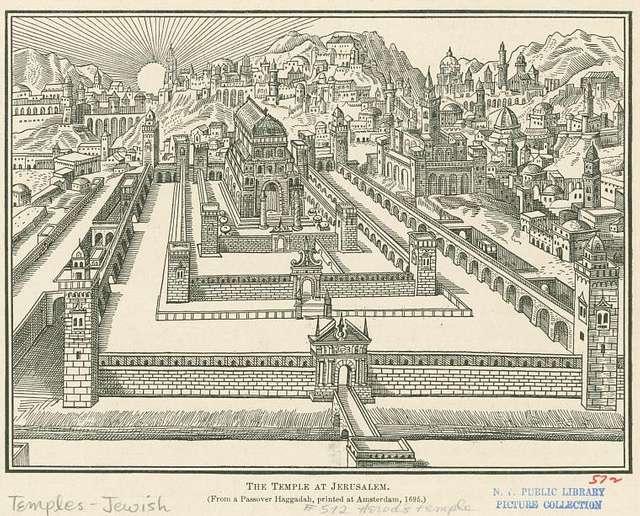 świątynia w Jerozolimie / New York Public Library / wolna domena / tekst: Narody w Królestwie Bożym